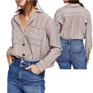 Free People High Tide Button Up Blouse Sz Medium